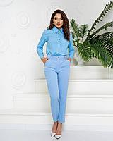 Стильні класичні брюки арт. 601 у поєднанні з ошатною блузою 600 / колір блакитний - ваш готовий образ!