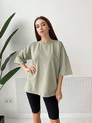 Женская летняя свободная футболка оливковая