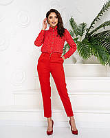 Стильні класичні брюки арт. 601 у поєднанні з ошатною блузою 600/ колір червоний - ваш готовий образ!