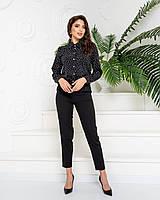 Стильні класичні брюки арт. 601 у поєднанні з ошатною блузою 600 / колір чорний - ваш готовий образ!