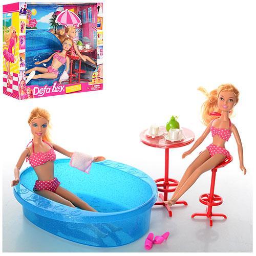Лялька DEFA 8255 з сестричкою, басейн, кор., 36,5-31-10 см.