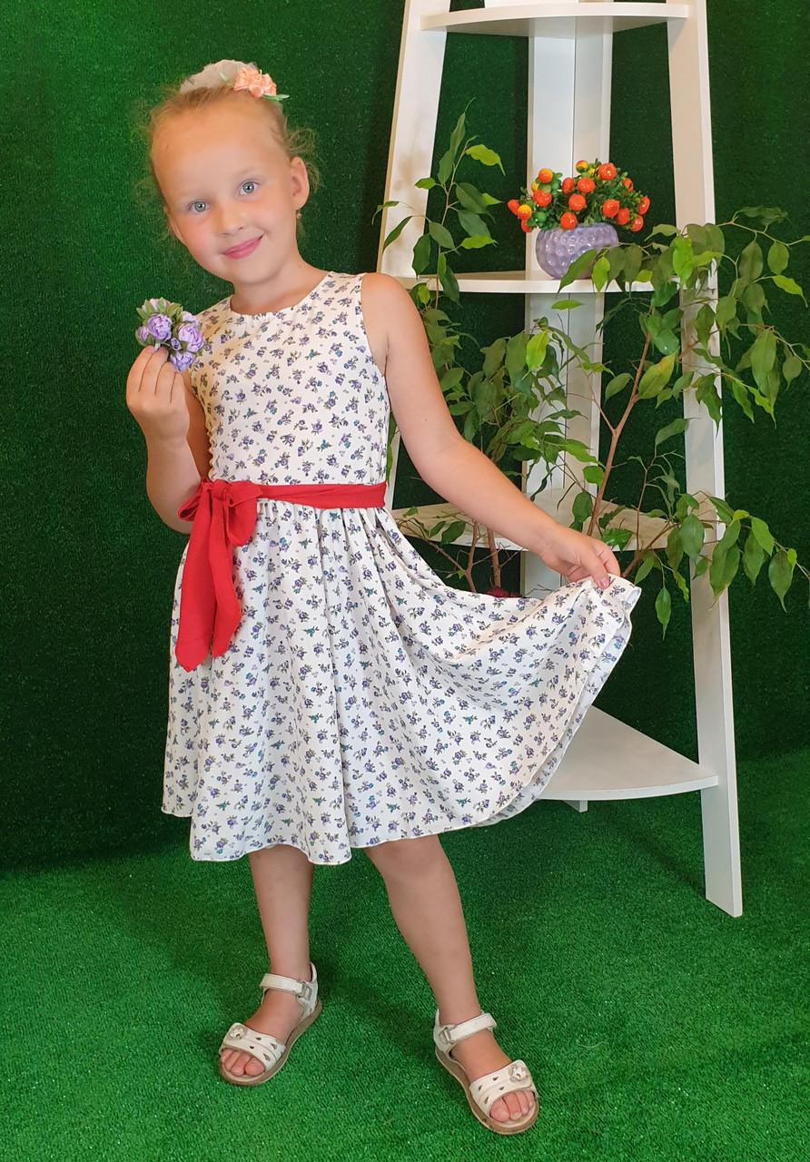 Платье для девочки Фея 104,110,116,122 молочный в цветочек (без пояса)