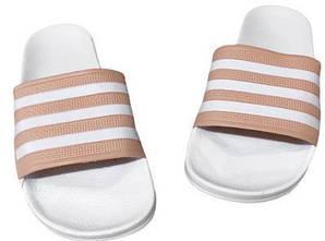Женские тапочки / сланцы / шлепанцы Adidas Бело-розовые 38