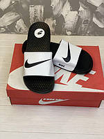 Мужские тапки / сланцы / шлепанцы Nike Logo Черно-белые 41