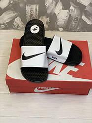 Мужские тапки / сланцы / шлепанцы Nike Logo Черно-белые 45