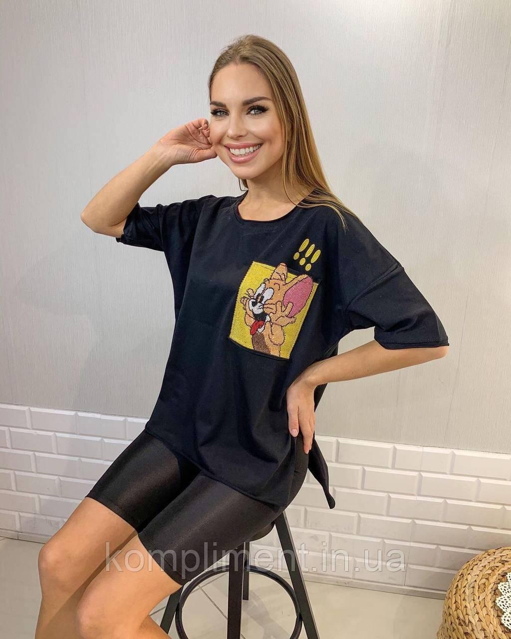 Женская яркая модная черная футболка с рисунком,Турция