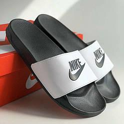 Мужские тапки / сланцы / шлепанцы Nike Черно-белые 42
