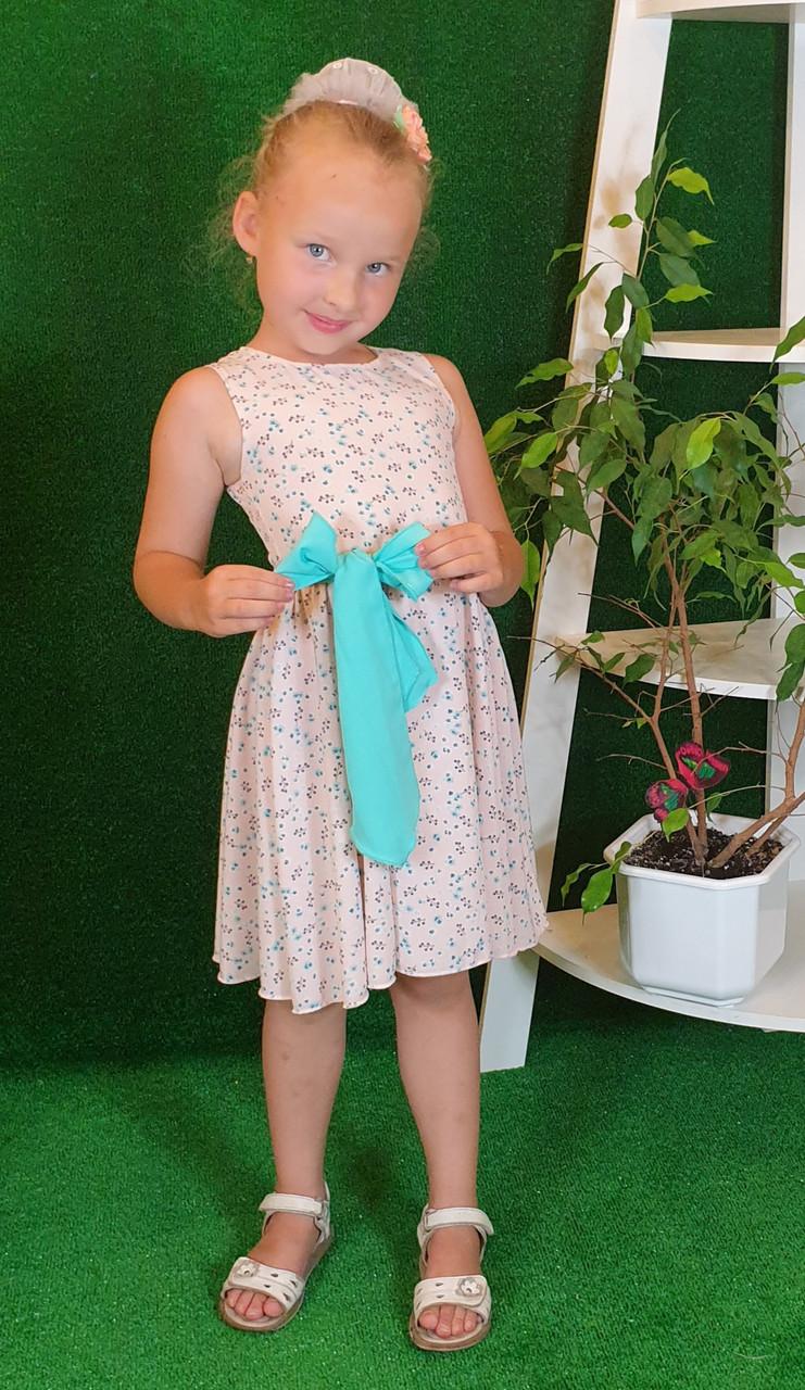 Платье для девочки Фея 104,110,116,122 бежевый в цветочек( без пояса)