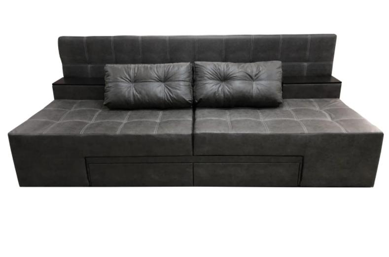 Красивий розкладний диван-ліжко сучасний спальний диван-трансформер без підлокітників ПРАЙМ Сірий замша