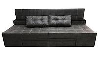 Красивий розкладний диван-ліжко сучасний спальний диван-трансформер без підлокітників ПРАЙМ Сірий замша, фото 1
