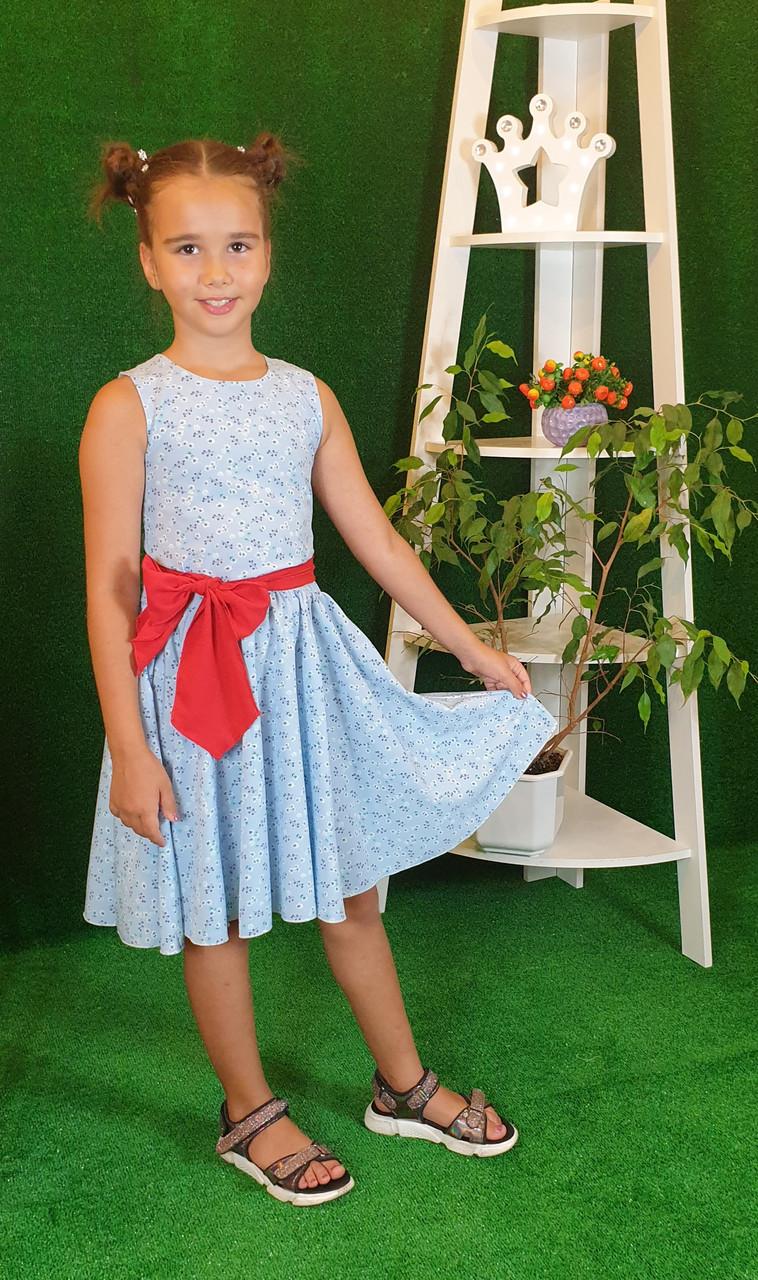 Платье для девочки Фея 128 цветочный принт( без пояса)
