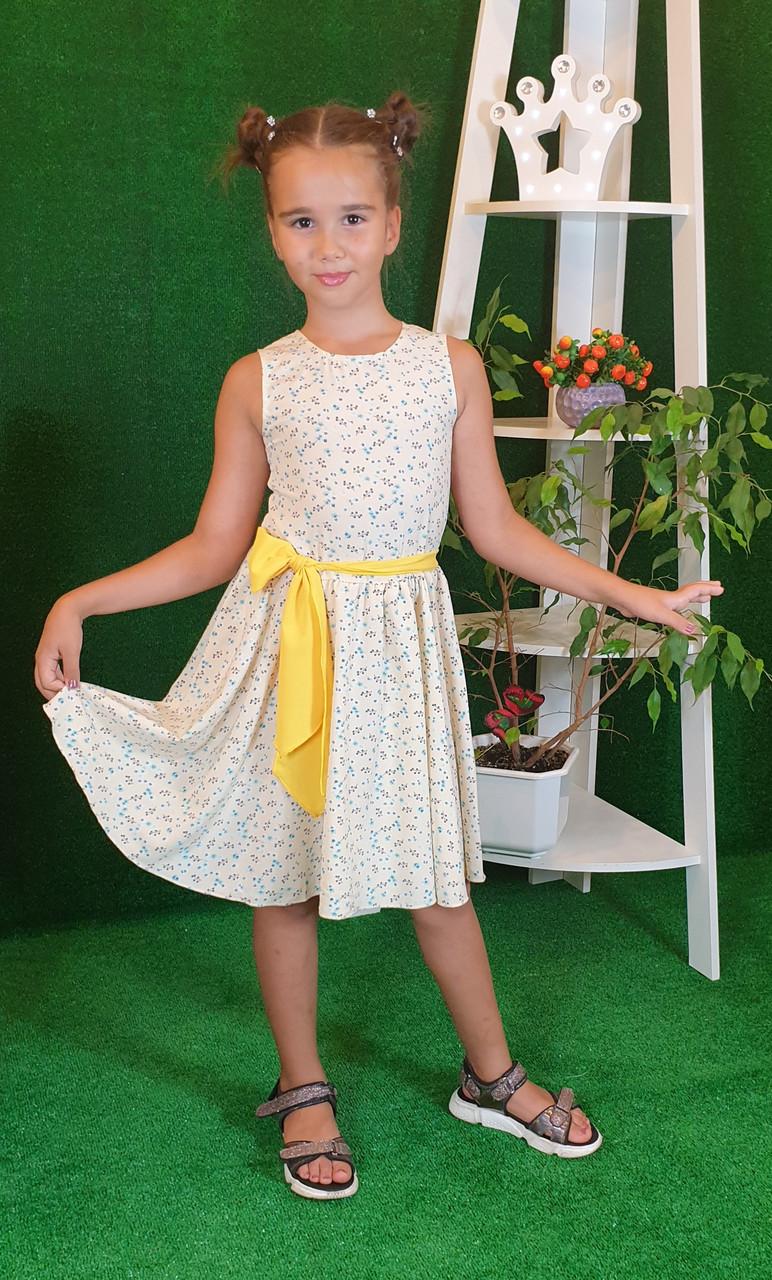 Платье для девочки Фея 104, 110, 116, 122  цветочный принт на желтом( без пояса)