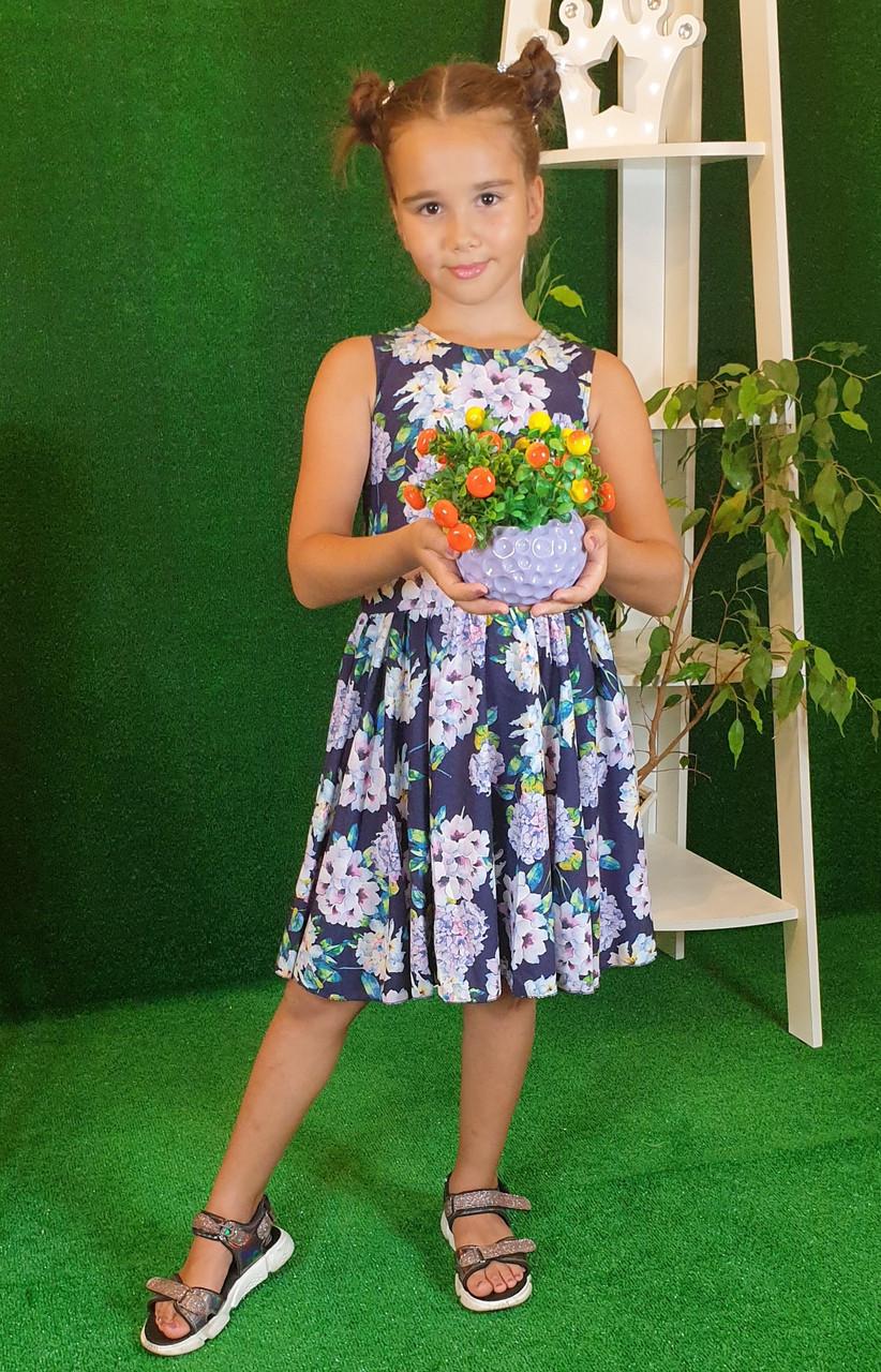 Платье для девочки Фея 128 см, цветочный принт на темно-синем( без пояса)