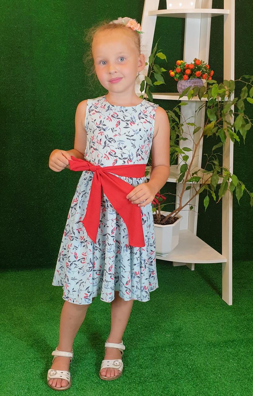 Платье для девочки Фея 104,110,116,122 цветочный узор на голубом( без пояса)