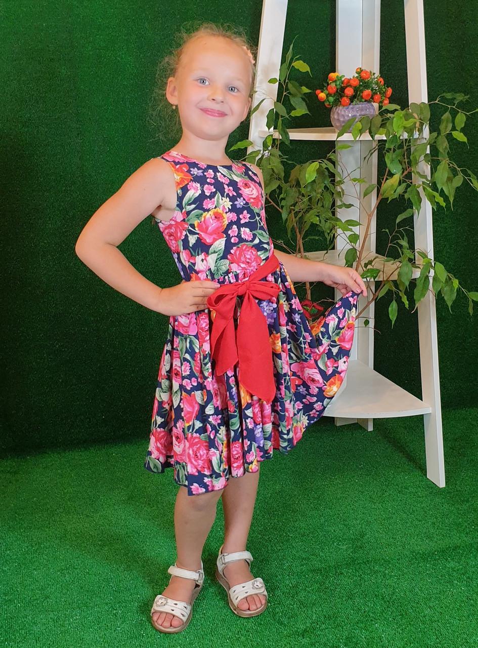 Платье для девочки Фея 122 см цветочный принт( без пояса)