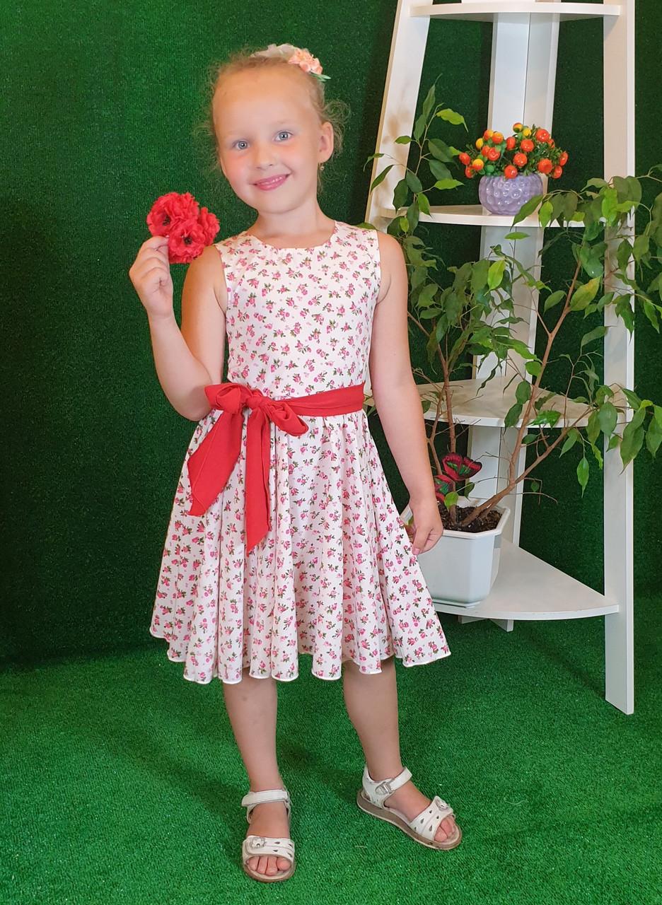 Платье для девочки Фея 104,110,116,122 цветочный узор на белом( без пояса)
