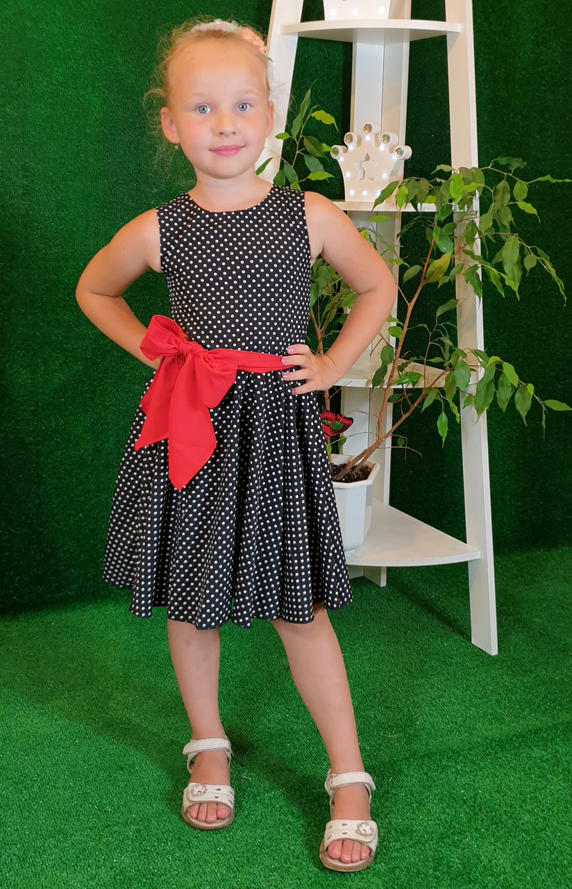 Платье для девочки Фея 104,110,116,122  на черном горошек( без пояса)