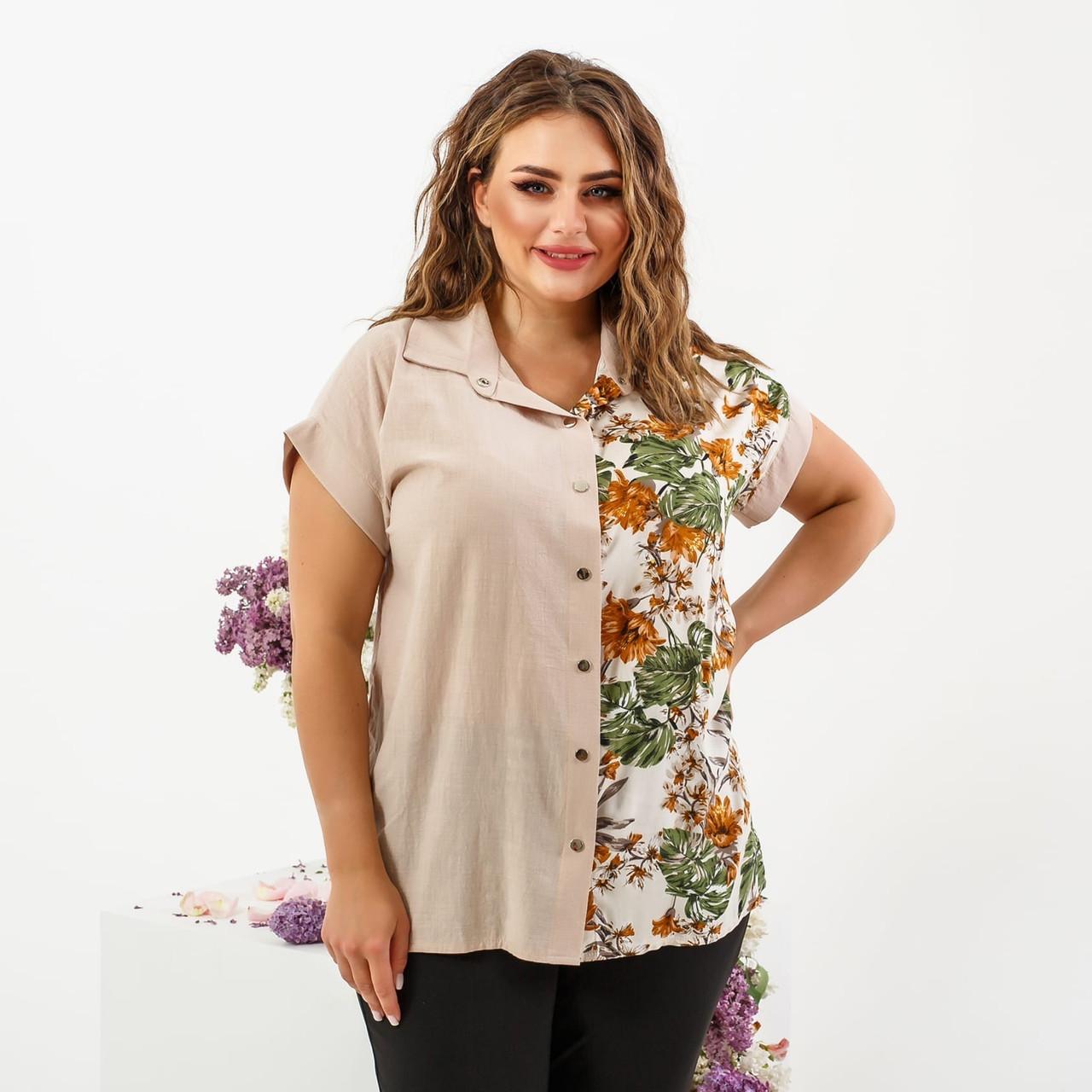 Летняя женская рубашка с цветочным принтом