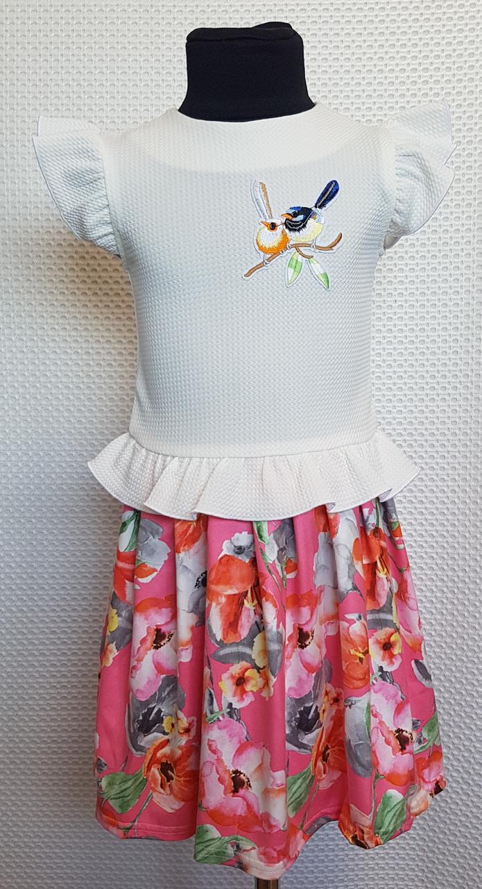 Платье на девочку Колибри 104,110,116, 122 см белый+розовый