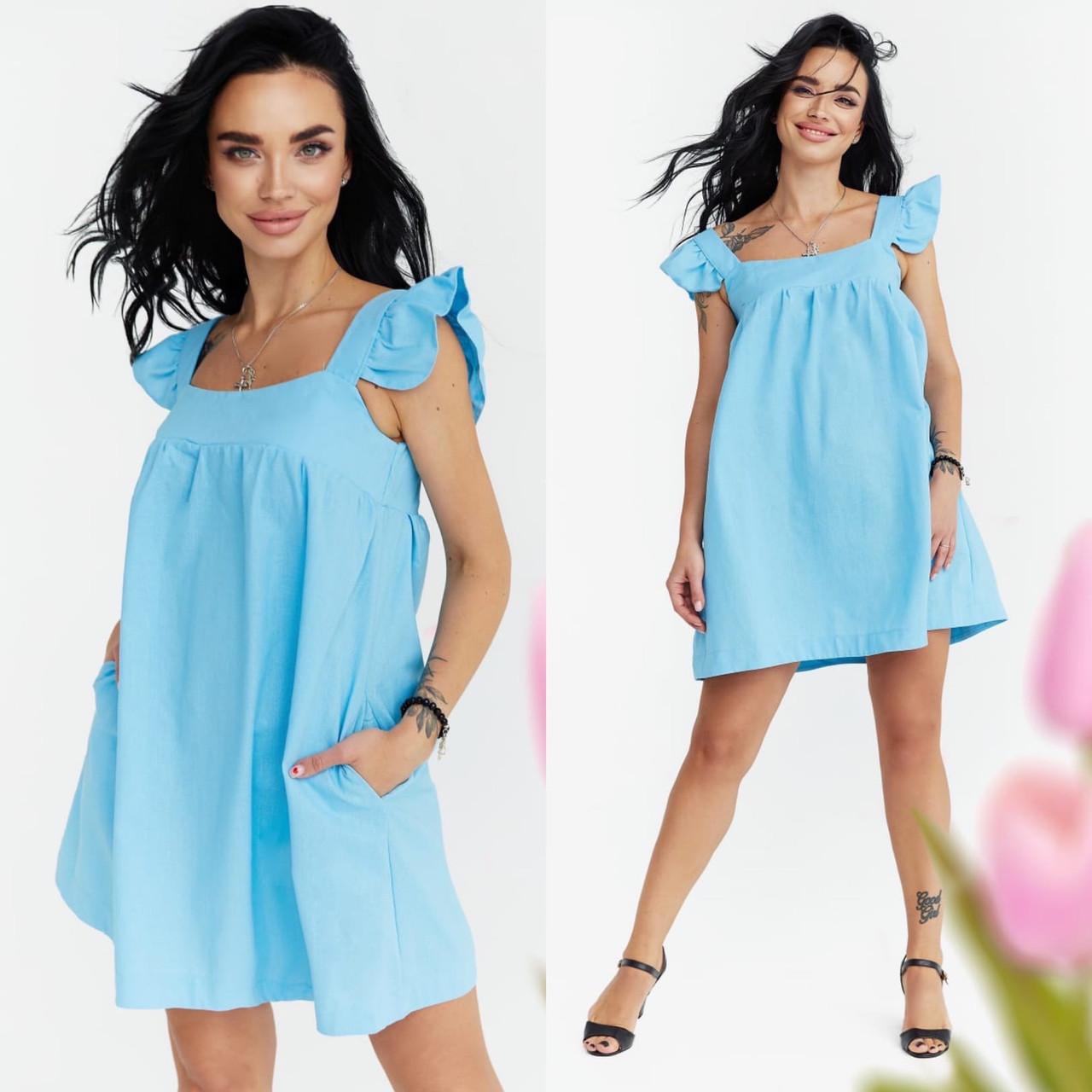 """Жіноче літнє плаття 2007 """"Льон Міні Крильця"""" в кольорах"""