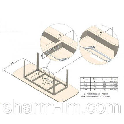Механизм открывания вкладыша столешни, фото 2
