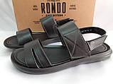 Комфортные чёрные кожаные сандалии Rondo, фото 2
