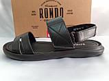 Комфортные чёрные кожаные сандалии Rondo, фото 7