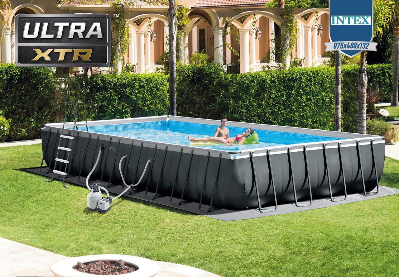 Каркасний прямокутний басейн Intex Ultra Frame 975x488x132 см з фільтром, Глибокий великий для всієї родини