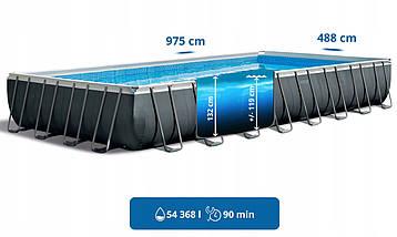 Каркасный прямоугольный бассейн Intex Ultra Frame 975x488x132 см 28376 с фильтром, Большой для всей семьи, фото 3