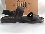 Комфортные чёрные кожаные сандалии Rondo, фото 3