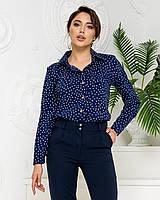 Нарядна блузка в горох арт. 600 + стильні штани арт. 601 / колір темно синій - ваш готовий образ!