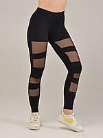 Черные лосины для фитнеса с вставками из сетки NV Curl