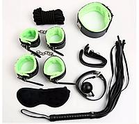 Набор БДСМ 7 предметов черная кожа салатовый мех
