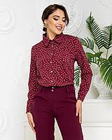 Нарядна блузка в горох арт. 600 + стильні штани арт. 601 / колір бордовий - ваш готовий образ!