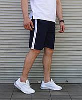 Шорты мужские спортивные летние льняные Line синие | Шорты бриджи мужские повседневные ЛЮКС качества