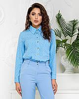 Нарядна блузка в горох арт. 600 + стильні штани арт. 601 / колір блакитний - ваш готовий образ!