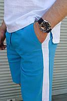 Шорты мужские спортивные летние льняные Line голубые | Шорты бриджи мужские повседневные ЛЮКС качества