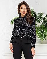 Нарядна блузка в горох арт. 600 + стильні штани арт. 601 / колір чорний - ваш готовий образ!