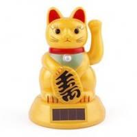 "Кошка ""Манеки Неко"" 11 см (золотая, на солнечных батарейках), фото 1"