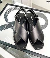 Жіночі шкіряні босоніжки на низькому ходу 36-41 р чорний, фото 1
