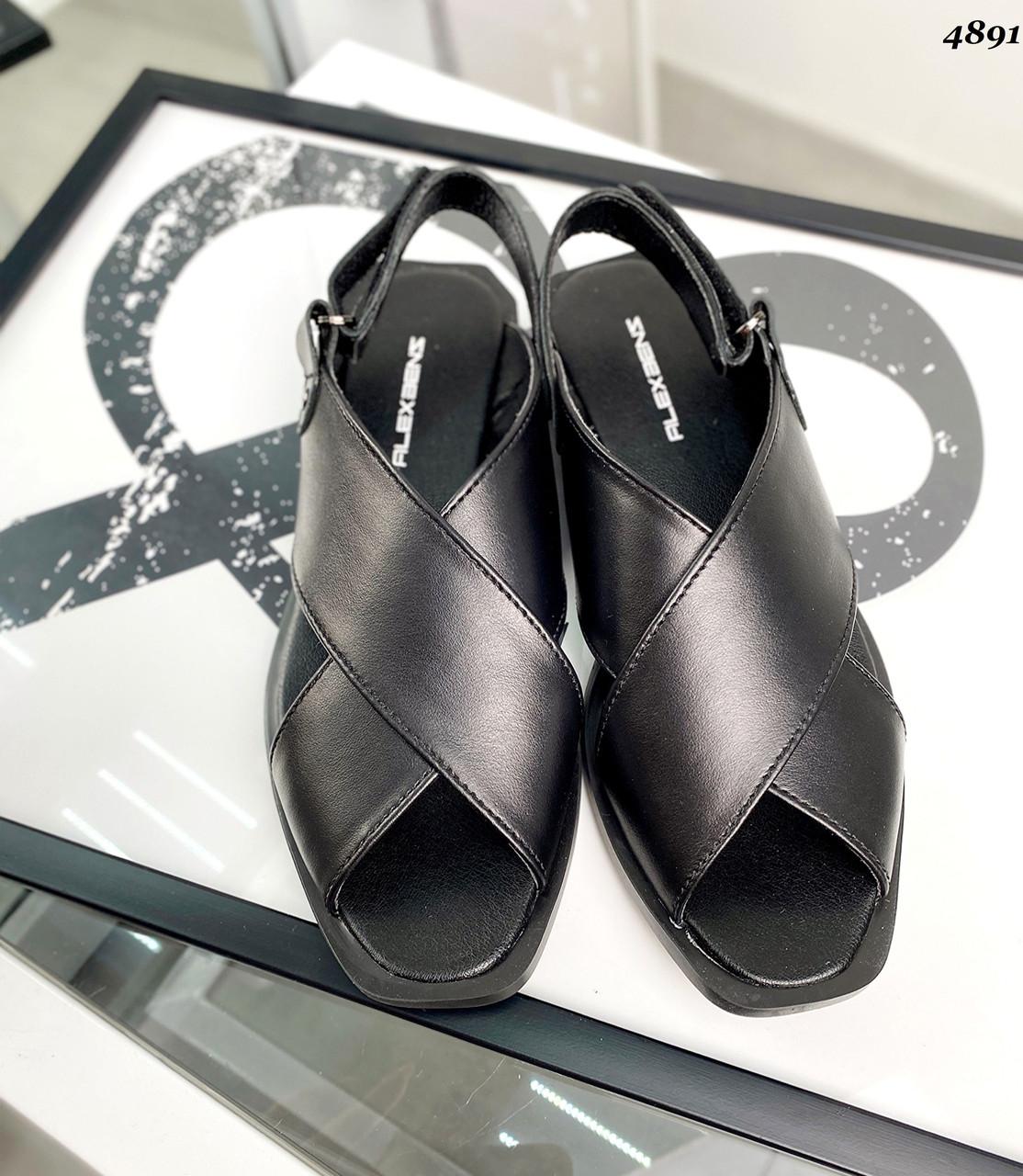 Жіночі шкіряні босоніжки на низькому ходу 36-41 р чорний