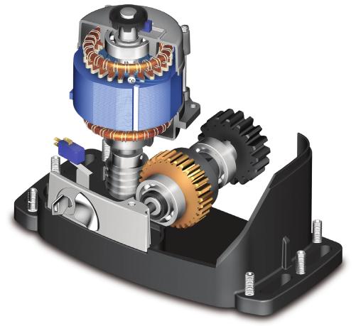 Самоблокуючий електромеханічний привід Roger Technology R30/804 для відкатних воріт вагою до 800 кг