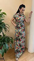 Платье  с розами длинное с поясом