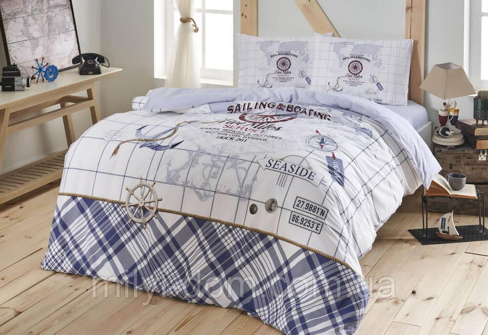 Набор постельного белья TAC Sea Side Blue Ранфорс / простынь на резинке (евро)