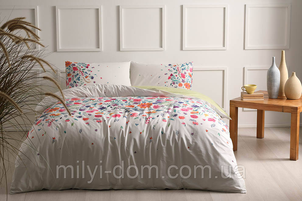 Набор постельного белья TAC  Astin Pink Ранфорс-Antibacterial (евро)