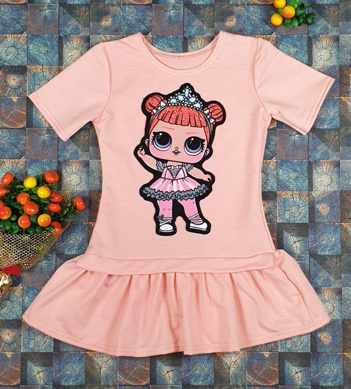 Платье Лола с коротким рукавом  на девочку 104, 110, 116, 122 см,  персик