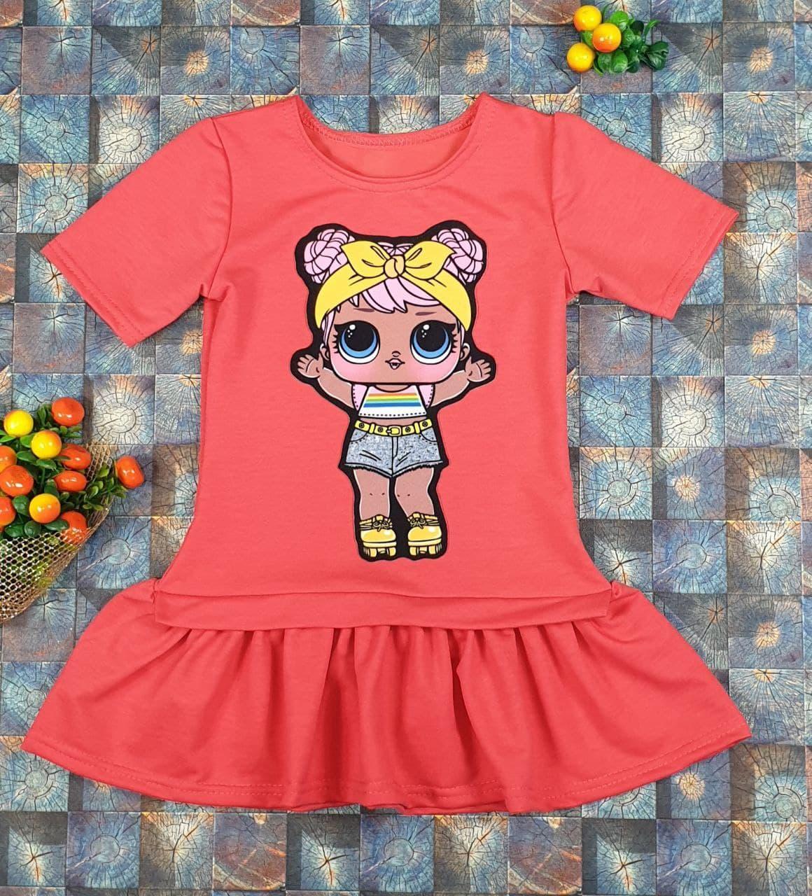 Платье Лола с коротким рукавом  на девочку 104, 110, 116, 122 см, коралловый