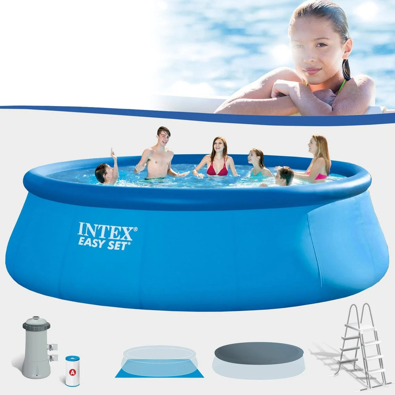 Басейн надувний Intex Easy Set 457х122см 26168 з фільтр-насосом Великий сімейний круглий басейн для дому
