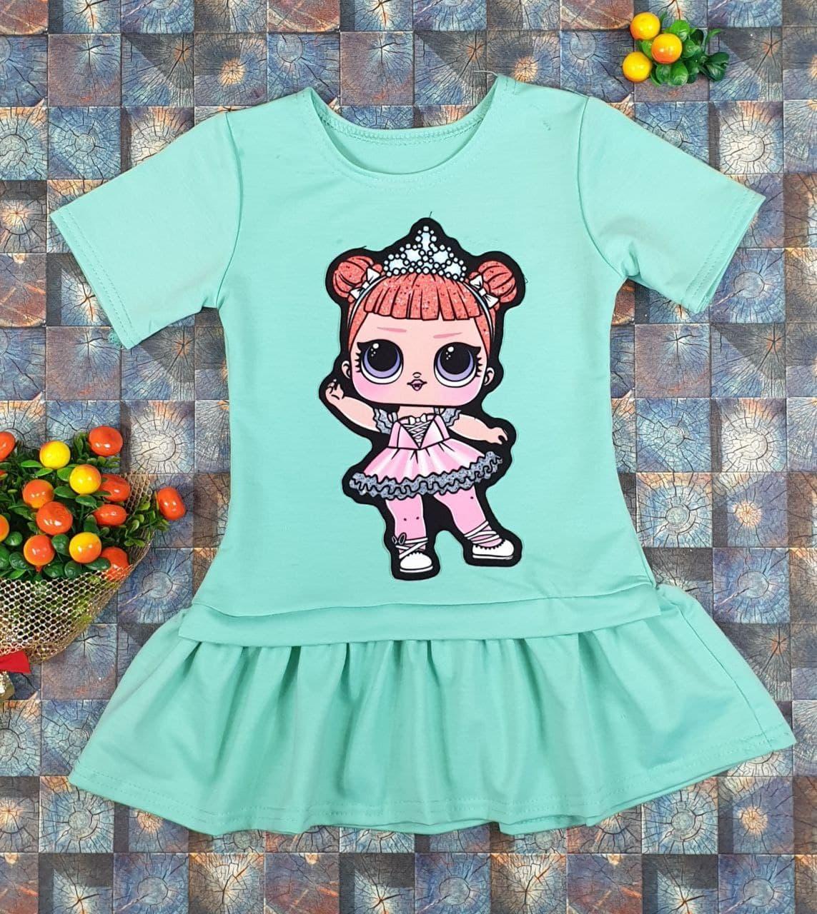 Платье Лола с коротким рукавом  на девочку 98, 104, 110, 116, 122 см,  мята