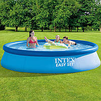 Бассейн надувной Intex Easy Set 396х84см 28142 с фильтр-насосом Большой семейный круглый бассейн для дома дачи